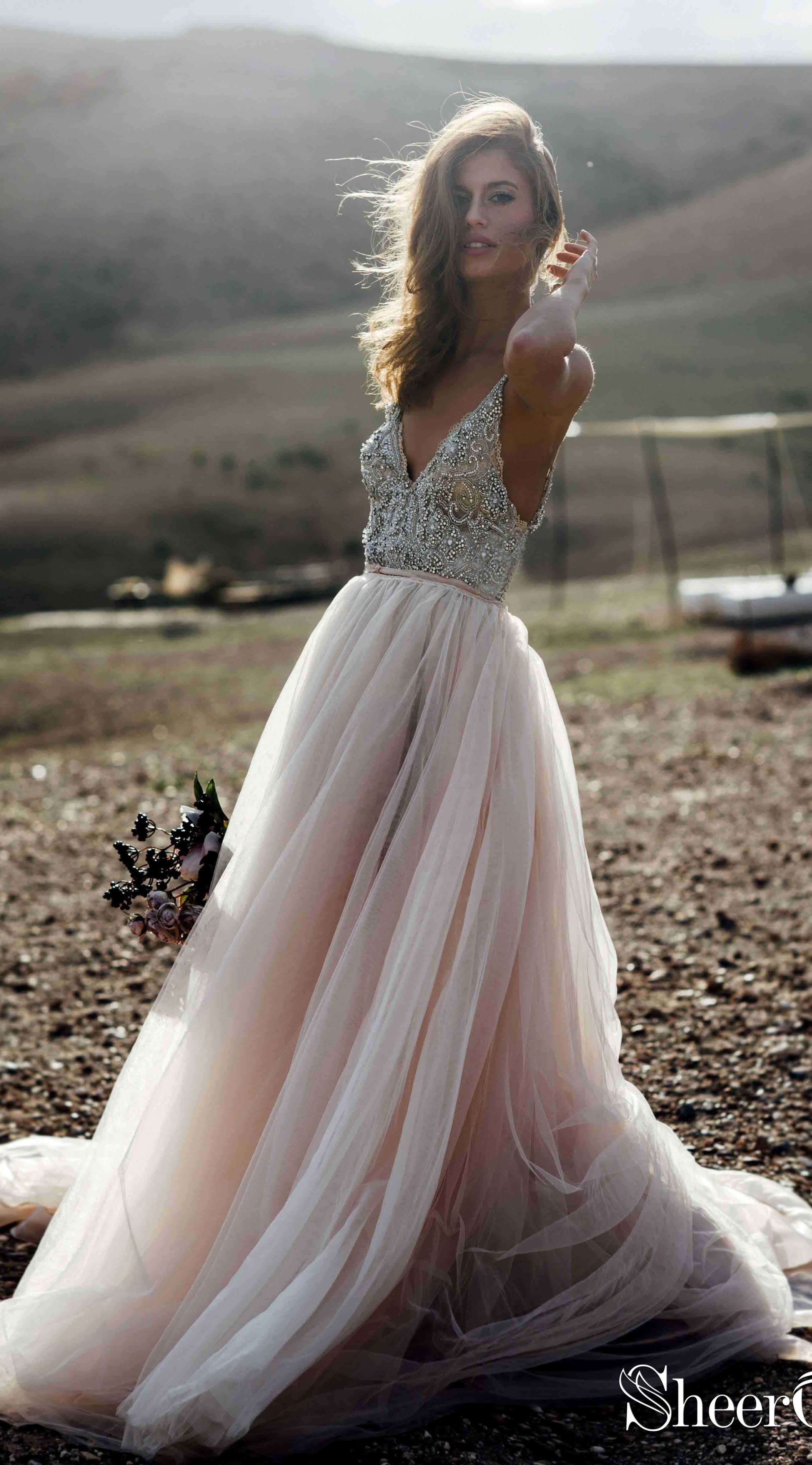 776f5ffa732e5 Spaghetti strap blush pink wedding dress with delicate beaded top.  #bohowedding #bohoweddingdresses #weddingdresses #weddingdress #weddings ...