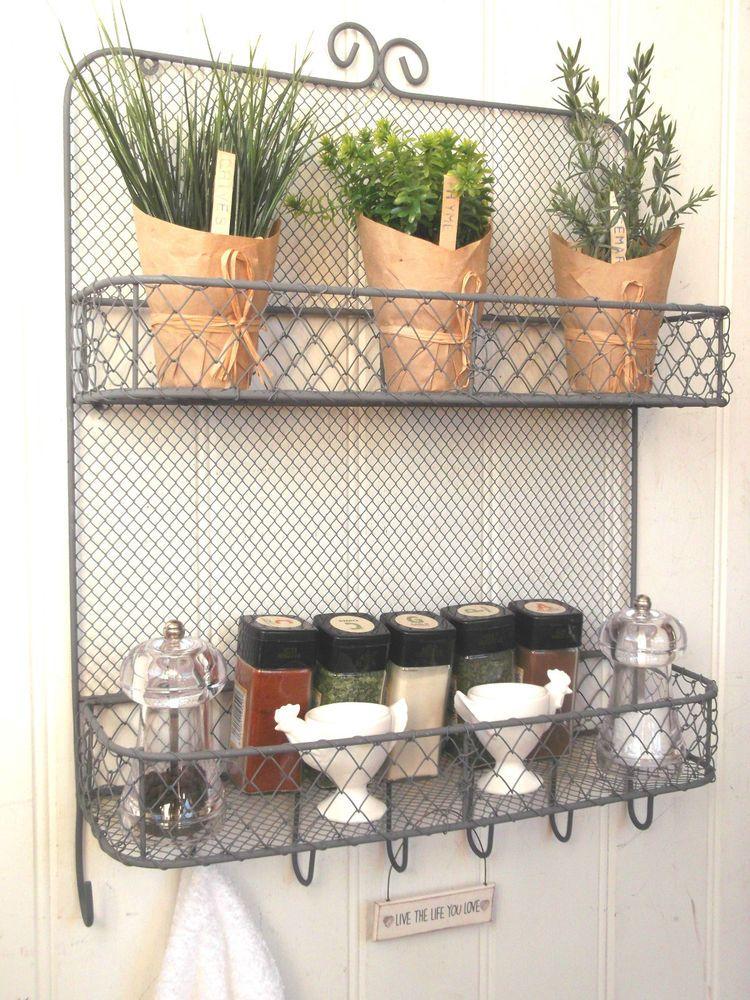 Shabby Chic Vintage Metal Wall Shelf Unit Rack Hooks Storage