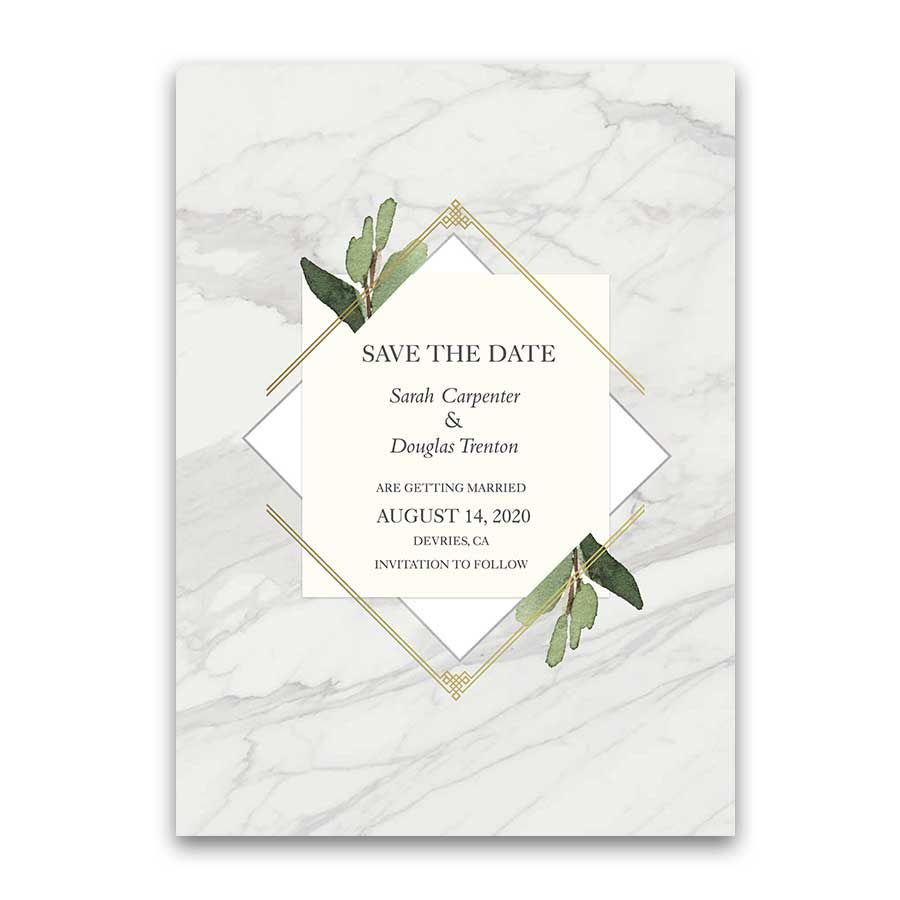 Geometric Save the Date Cards Gold Diamond Marble Greenery ...