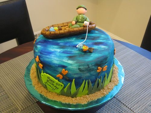 Fishing Birthday Cake For Adult Fish Birthday Cake Ideas Fish Cake Birthday 60th Birthday Cakes Birthday Cake Pictures