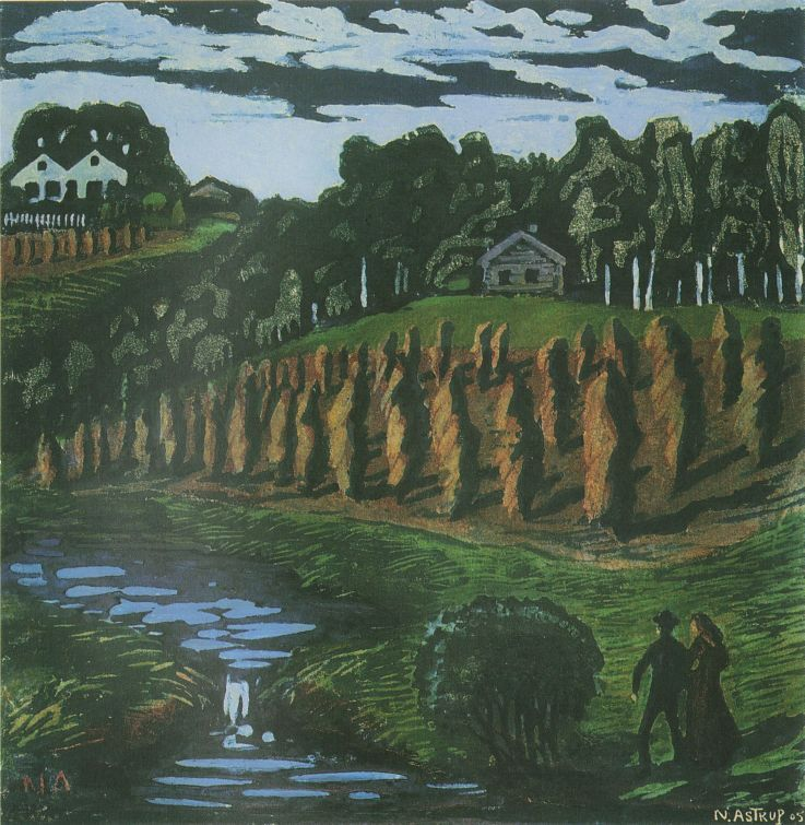 Liten Kornstaur By Nikolai Astrup Scandinavian Paintings Landscape Artist Landscape Paintings