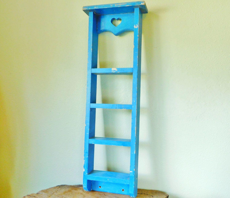 Painted Ladder Shelf, Distressed Wood Shelf, Wooden Spice Rack ...