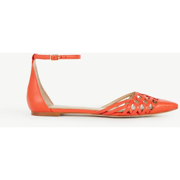 Ann Taylor Carys Strappy Leather Flats ($98) ❤ liked on Polyvore featuring shoes, flats, sunset orange, leather pointed toe flats, orange shoes, flat pumps, leather flat shoes and pointed-toe ankle-strap flats