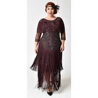 678fbbb2689 1920s Style Plus Size Plum Beaded Sleeved Glam Flapper Dress - Plus ...