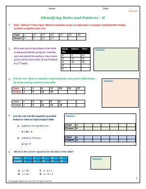 worksheet identifying rules and patterns ii practice finding the rule in given set of data. Black Bedroom Furniture Sets. Home Design Ideas
