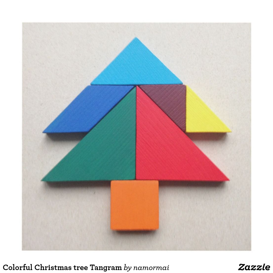 Christmas Tree Tangram: Colorful Christmas Tree Tangram Panel Wall Art