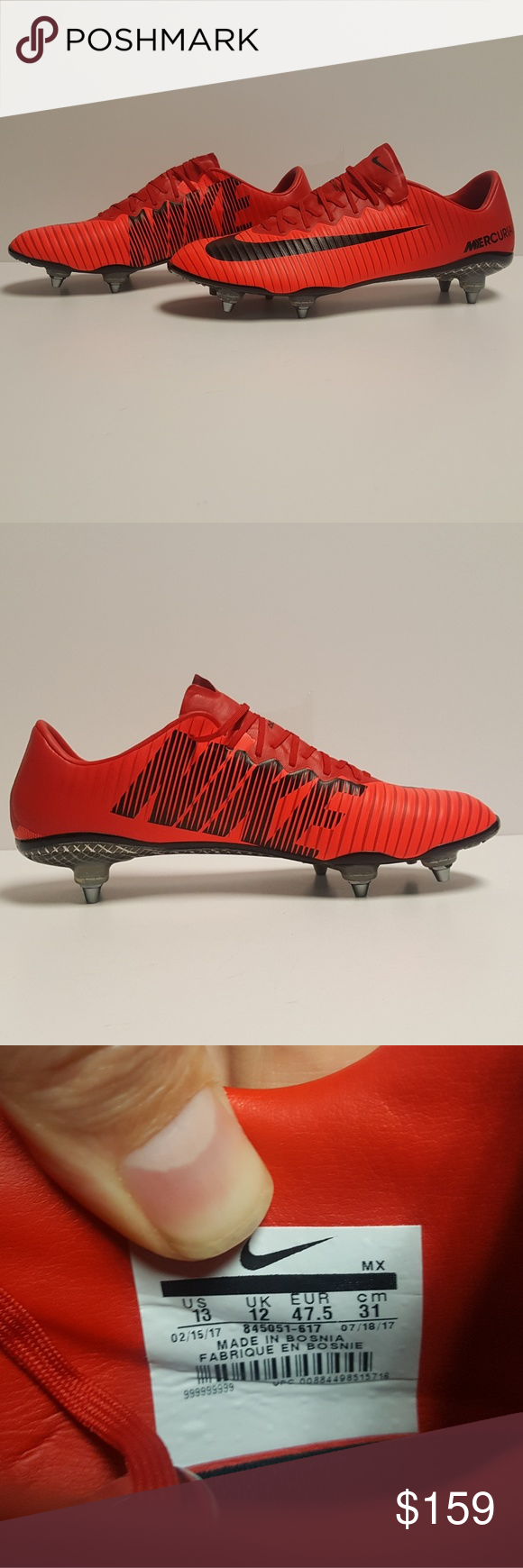 Mens Red Nike Mercurial Vapor Xi Sg Soccer Cleats Up For Grabs Are The Rare Red Nike Mercurial Vapor Xi Sgmen S Soccer Cleat Size Red Nike Soccer Cleats Cleats