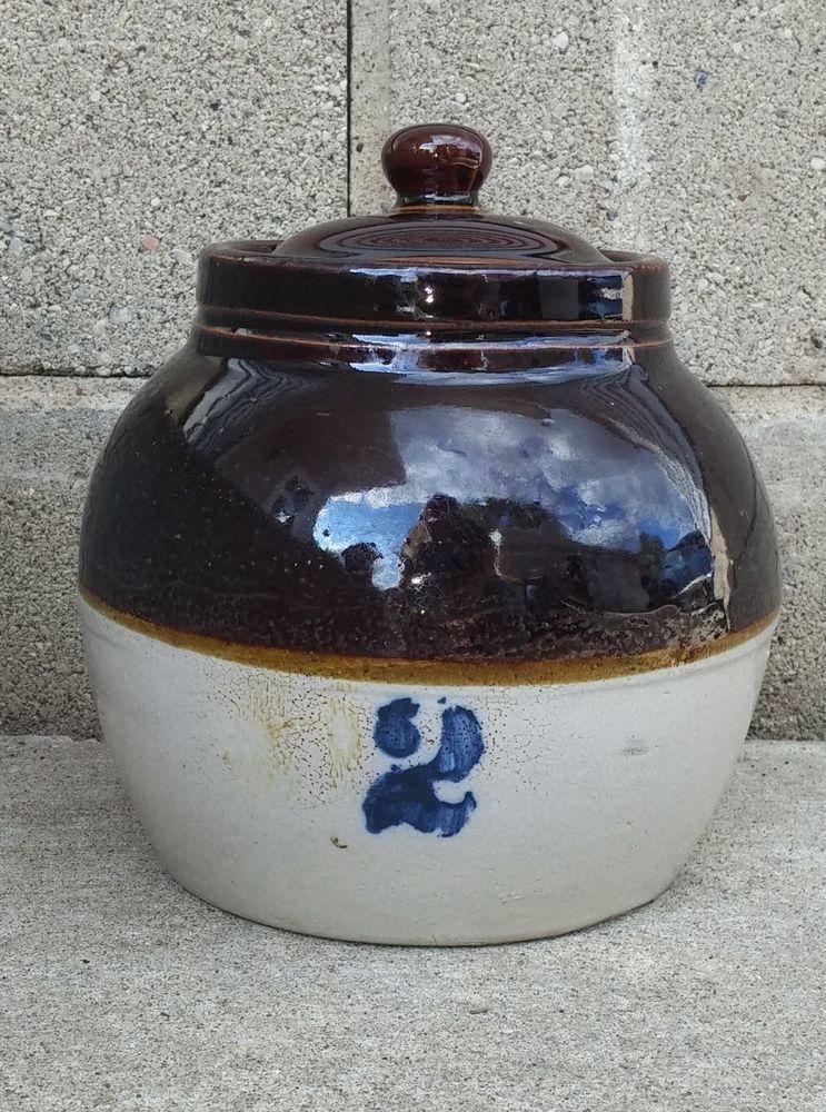 Vintage Antique 2 Quart Brown Top Stoneware Bean Pot W Cobalt 2 Lid Antique Crocks Vintage Jugs Stoneware