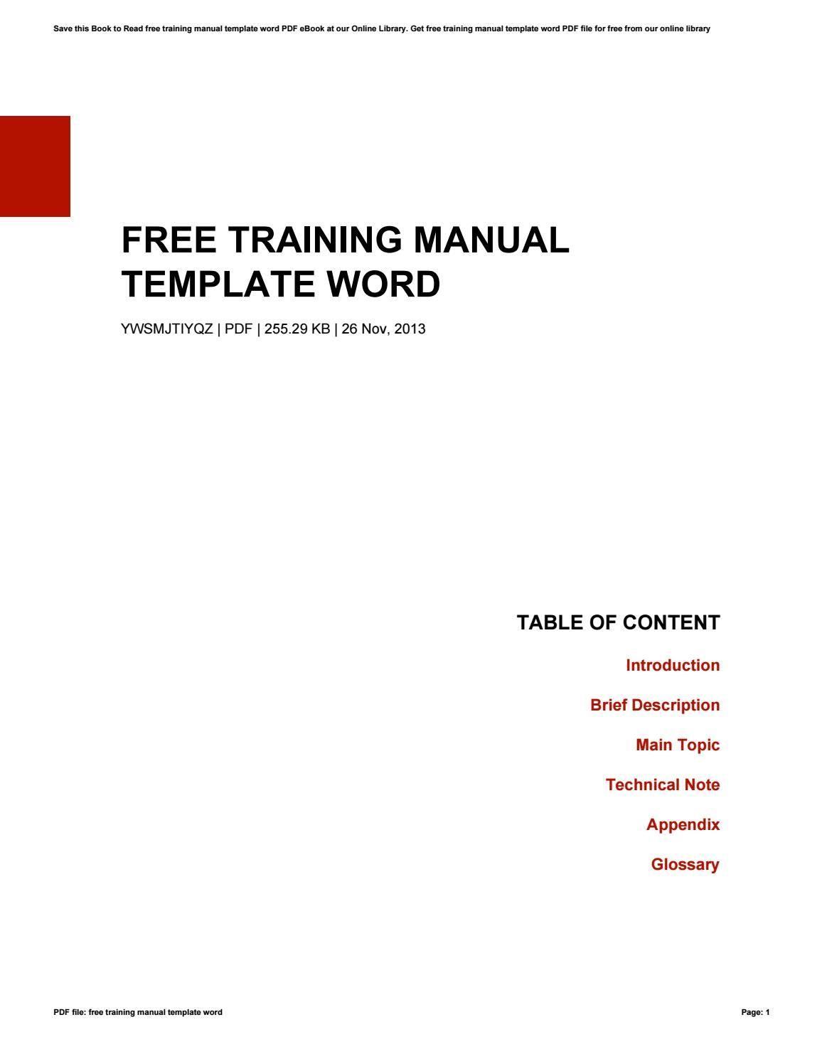 Free Training Manual Template Wordkazelink257 Issuu Throughout Training Documentation Template Word Be Word Template Letter Template Word Workbook Template