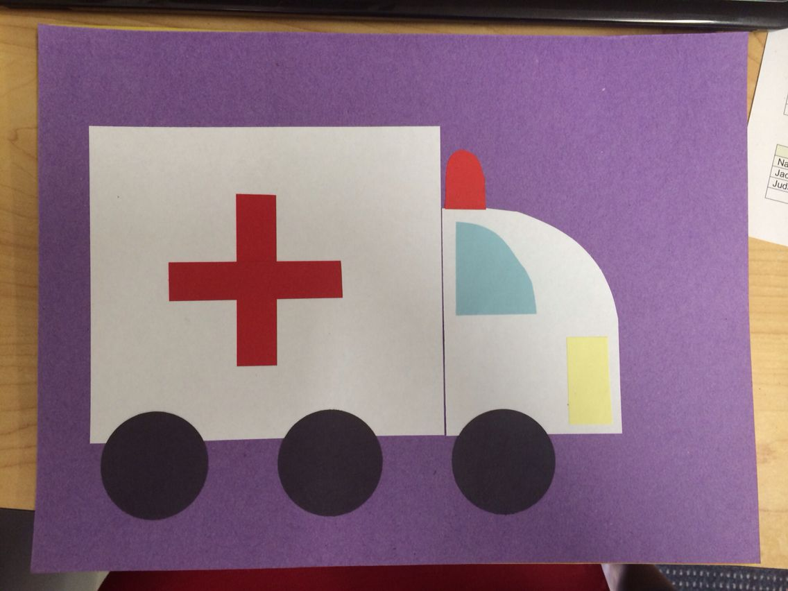 Ambulance Craft Made By Gluing Pre Cut Shapes Of Paper