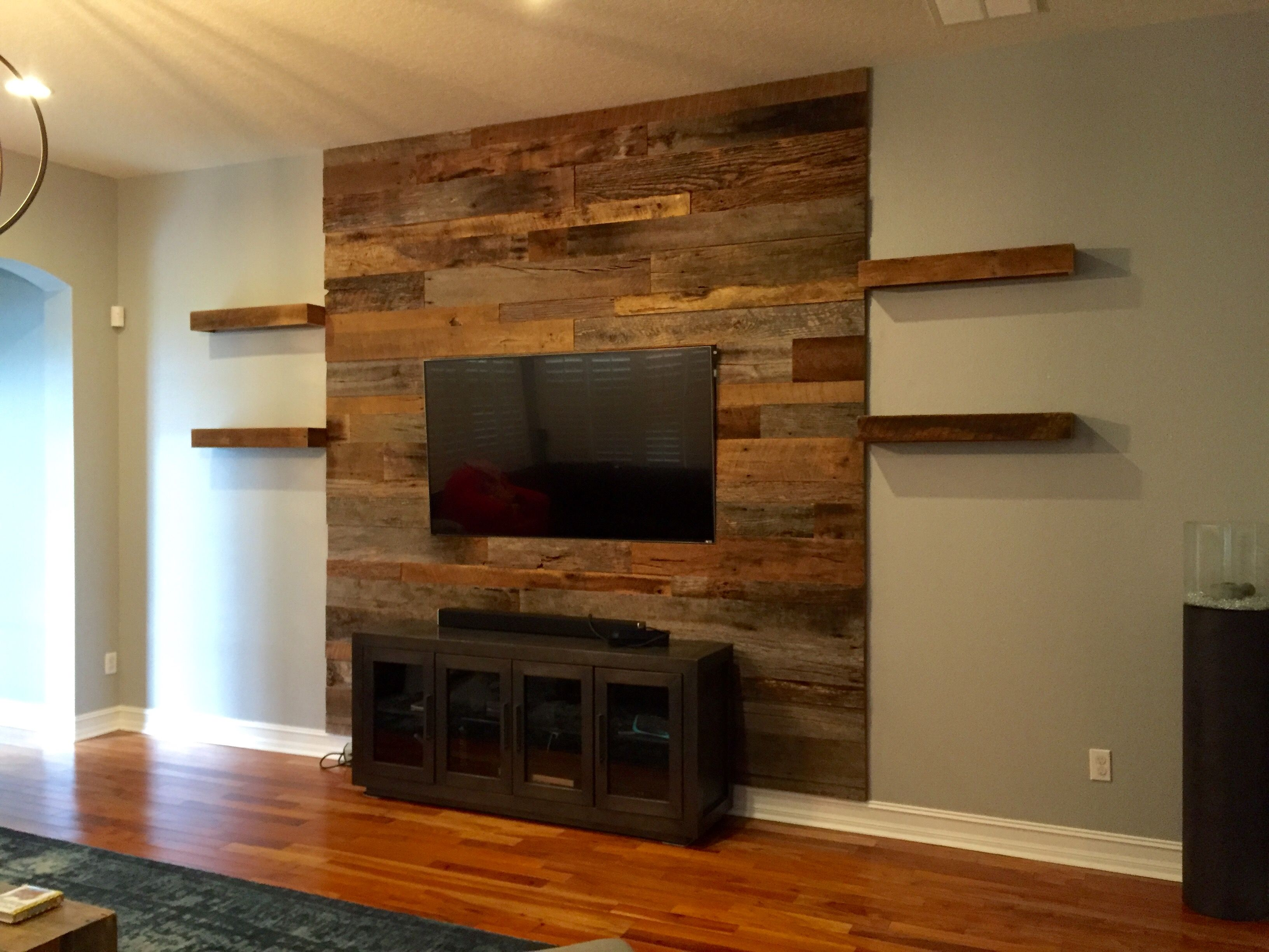 Trevor 39 S Reclaimed Barn Wood Accent Wall With Shelving