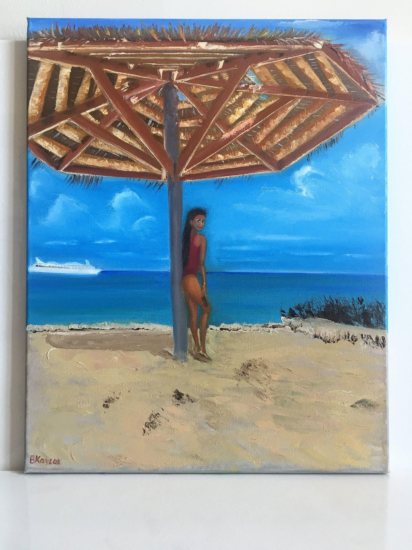 Ocean View Landscape Painting Girl On The Beach Art Beach Scene