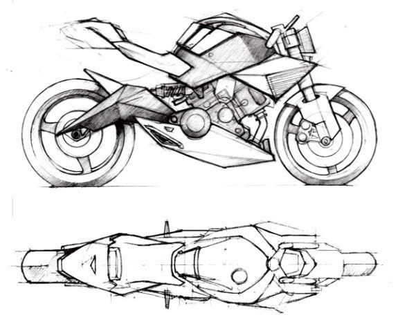 Monkee Design - Industrial Design Blog/ Student Resource - Spada Motorcycle - From Sketch toModel