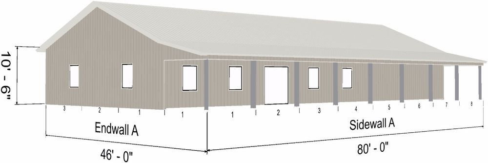 Steel Ranch Home Shell Kit 1800 Sq Ft Living 1080 Sq Ft Garage 800 Sq Porch Ebay Home Building Kits Steel Building Homes Ranch House