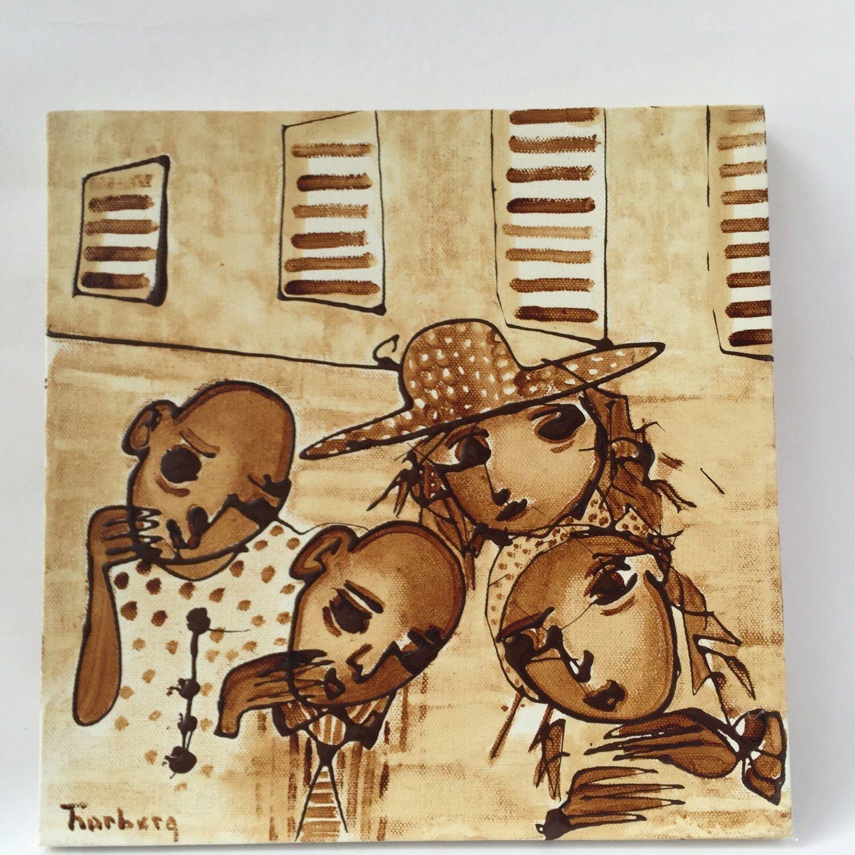 Coffee art 30x30 coffee painting coffee house art coffee drawing ...