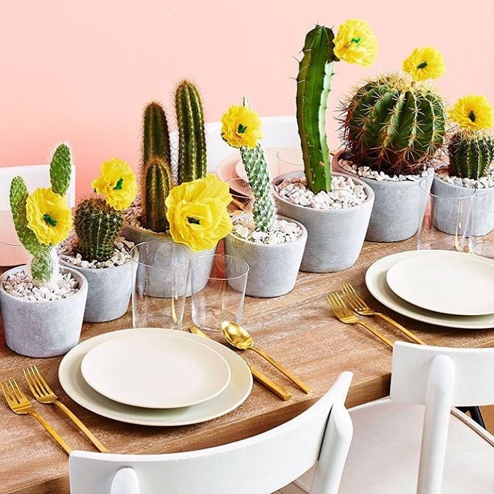 table runner of cacti in different heights - summer wedding centerpieces #weddingtablerunner #summerwedding #centerpieces