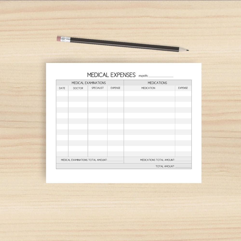 doctor s appointments medical expenses tracker black and white