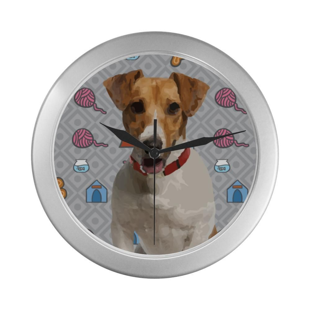 7af2b279e399  TeeAmazing -  e-joyer Jack Russell Terrier Silver Color Wall Clock -  AdoreWe