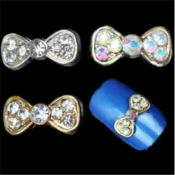 Cute Nail Designs – 2 Pcs 3 Patterns Shiny Rhinestones Bow Patterned ...