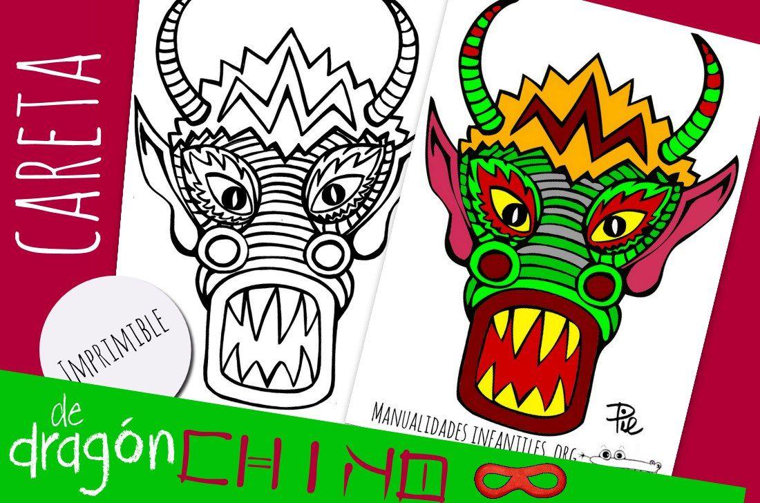 Máscara de Dragón Chino para imprimir | Dragón chino, Máscara de ...