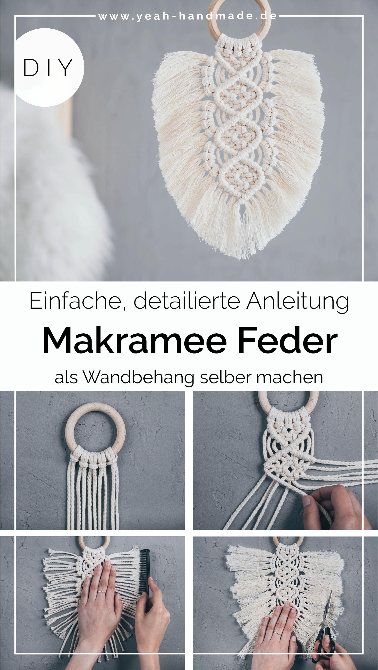 DIY Makramee Feder Wandbehang selber machen – Yeah Handmade