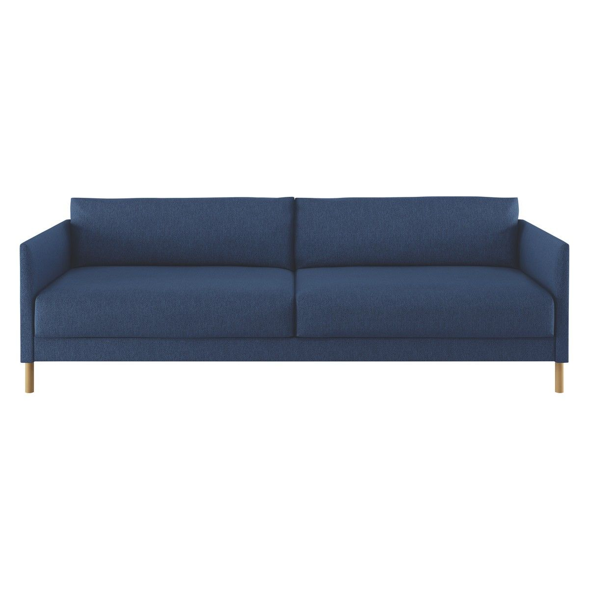 Fine Hyde Blue Fabric 3 Seater Sofa Bed Wooden Legs Buy Now At Caraccident5 Cool Chair Designs And Ideas Caraccident5Info