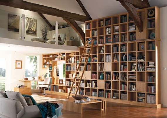 Wooden Tall Book Shelves in Unique Space Design