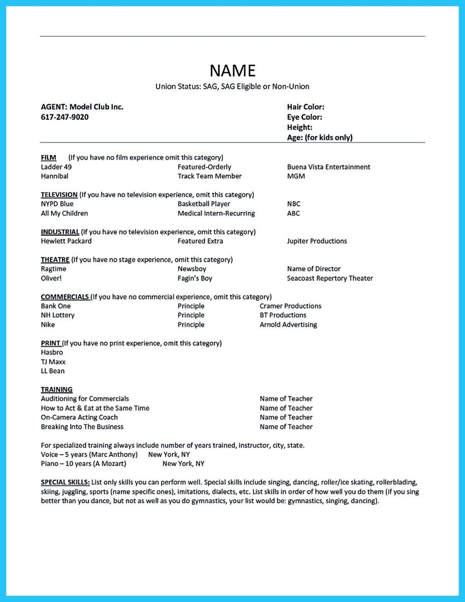 Acting Resume Templates Awesome Outstanding Acting Resume Sample To Get Job Soon Check