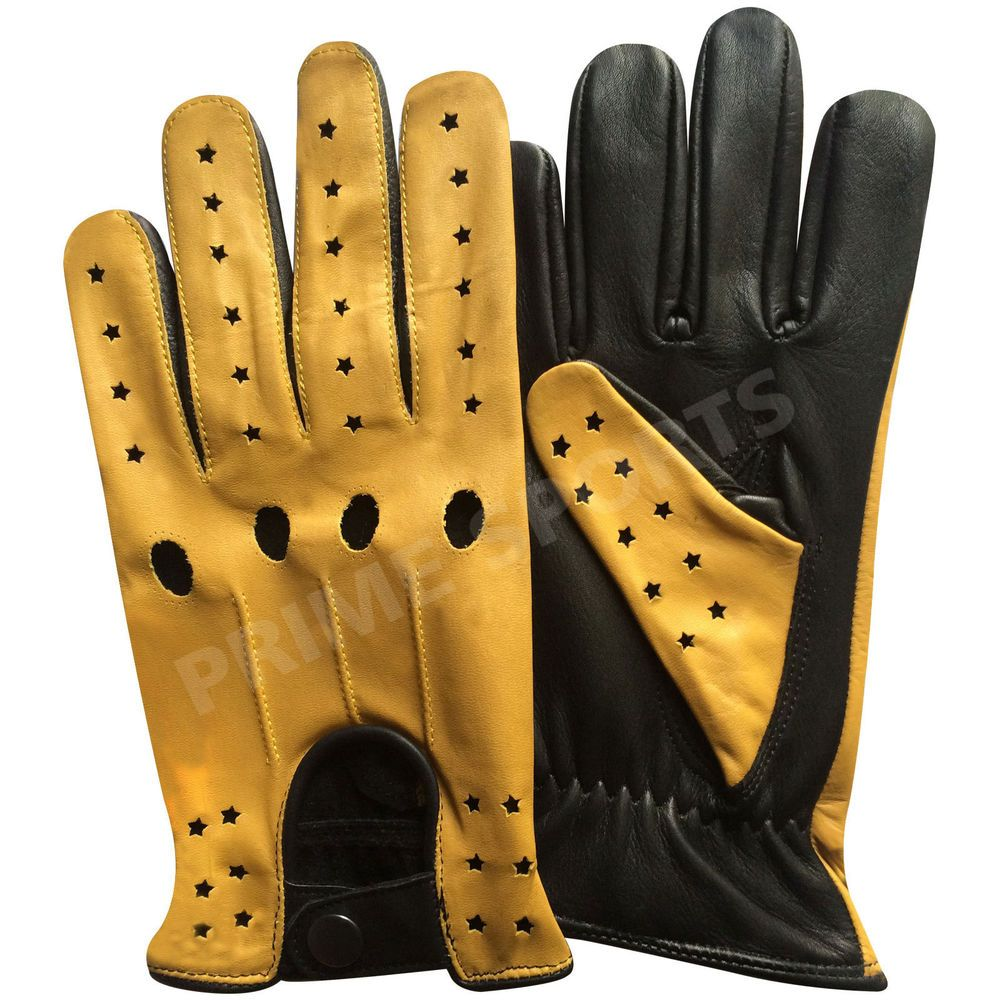 Quality leather driving gloves - Details About Men S Top Quality Real Soft Leather Driving Gloves Black With Yellow Star 507