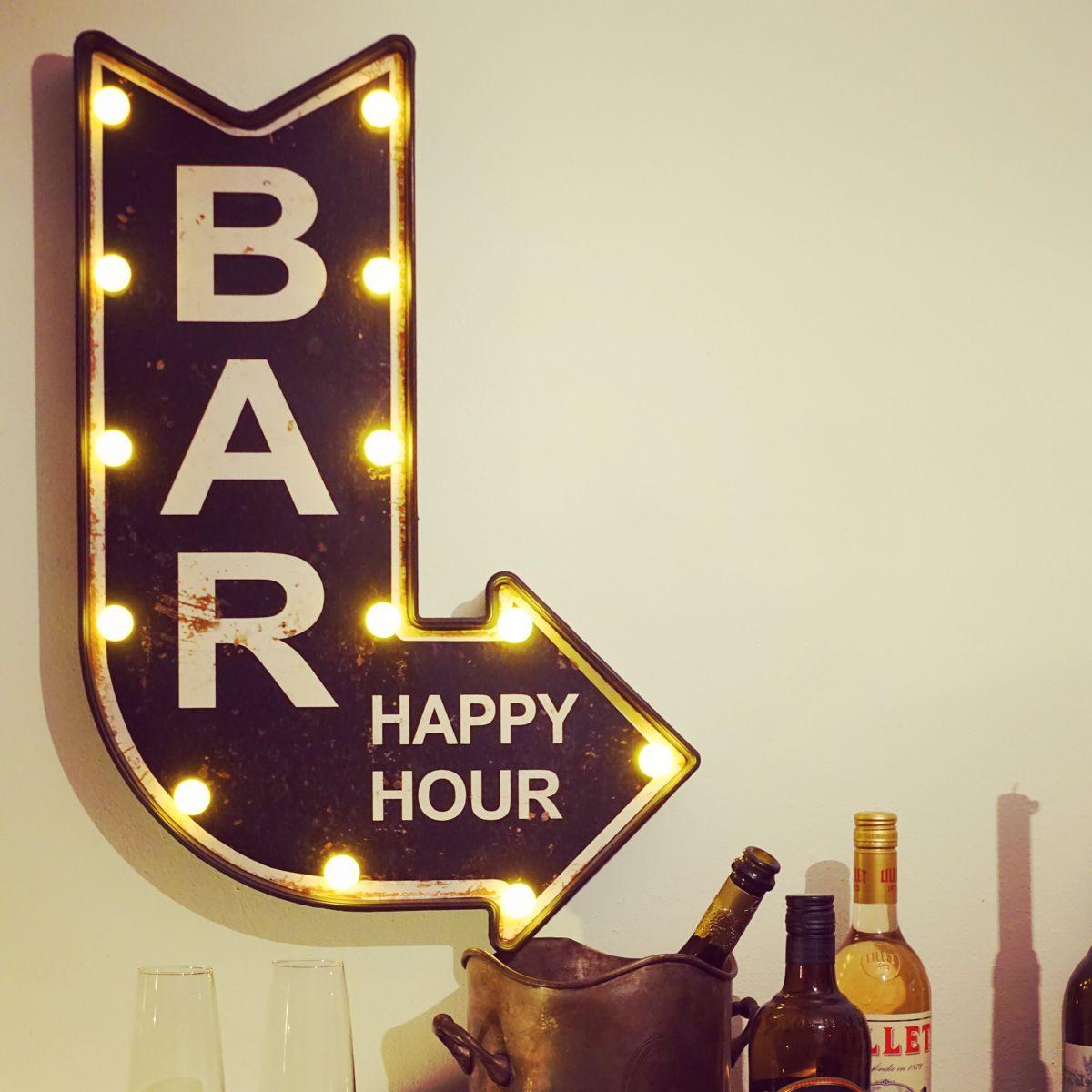 Bar Happy Hour Led Schild Mit Beleuchtung Led Schilder Led Partykeller