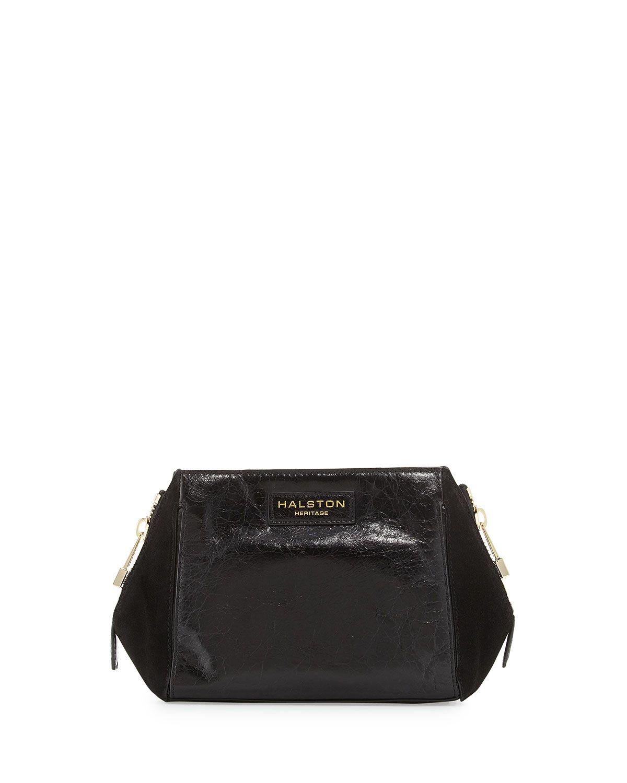 0eacb3356a Black · Halston Heritage Glazed Leather   Suede Evening Clutch Bag