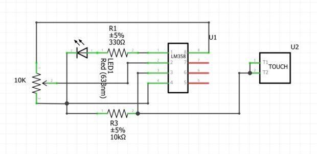 Digital Touch Sensor Using Lm358 Sensor Digital Electronics Circuit