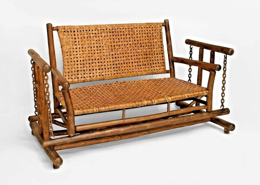 Sensational American Rustic Old Hickory Porch Glider Loveseat Gmtry Best Dining Table And Chair Ideas Images Gmtryco
