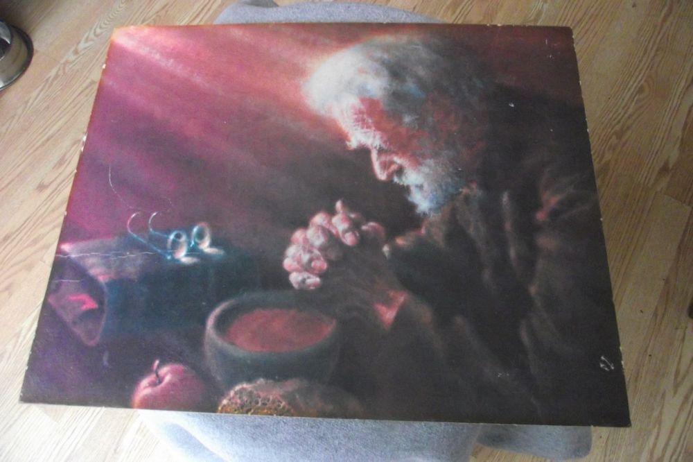 Wooden Framed Print Old Man Praying Grace at Table Religious Spiritual Vintage P
