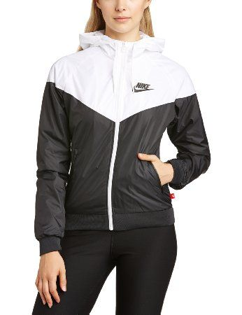 nike womens windrunner jacket black and white