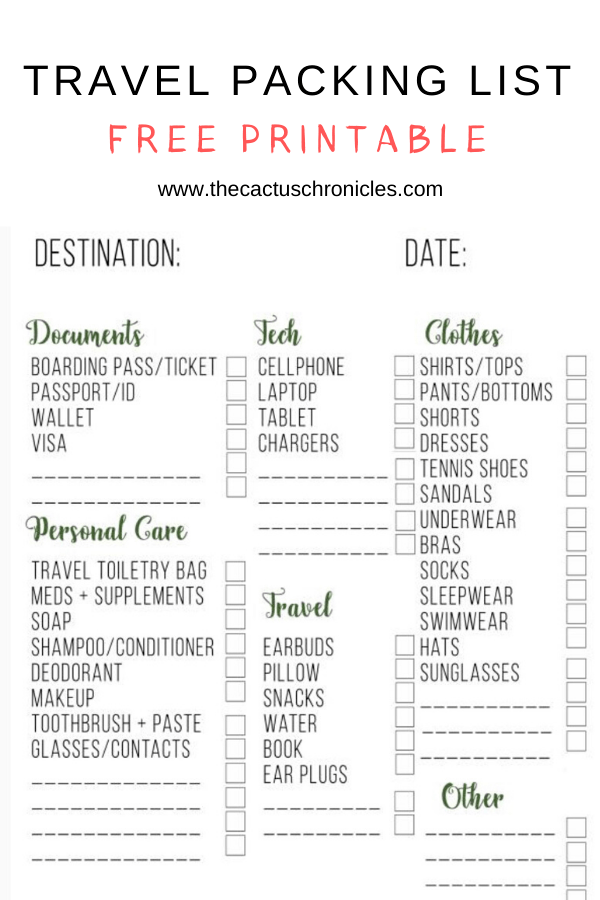 Free Travel Packing List Printable The Cactus Chronicles Packing List For Travel Packing List For Vacation Travel Packing List Printable