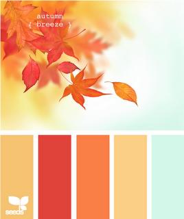 Light gold, orangey red, orange, butter yellow and light sky blue.