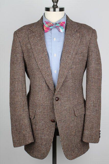 RARE Harvard Coop HARRIS TWEED Brown Weave Leather Btns 42 L mens Sport Coat #HarvardCoop #TwoButton
