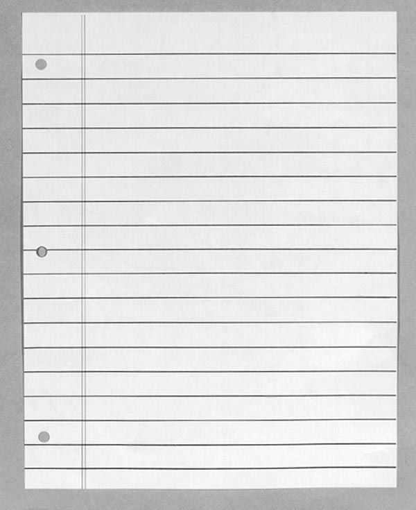 Notebook Paper Template Sign In Sheet Templates Numbered Lined - Notebook Paper Template