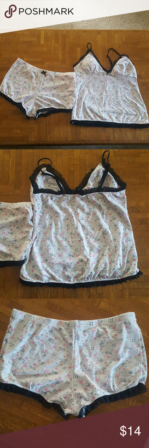 Cute pajama set Very cute and comfy pajama set. Shorts and tank top with padding and adjustable straps. In great condition. Midnight Coco Intimates & Sleepwear Pajamas