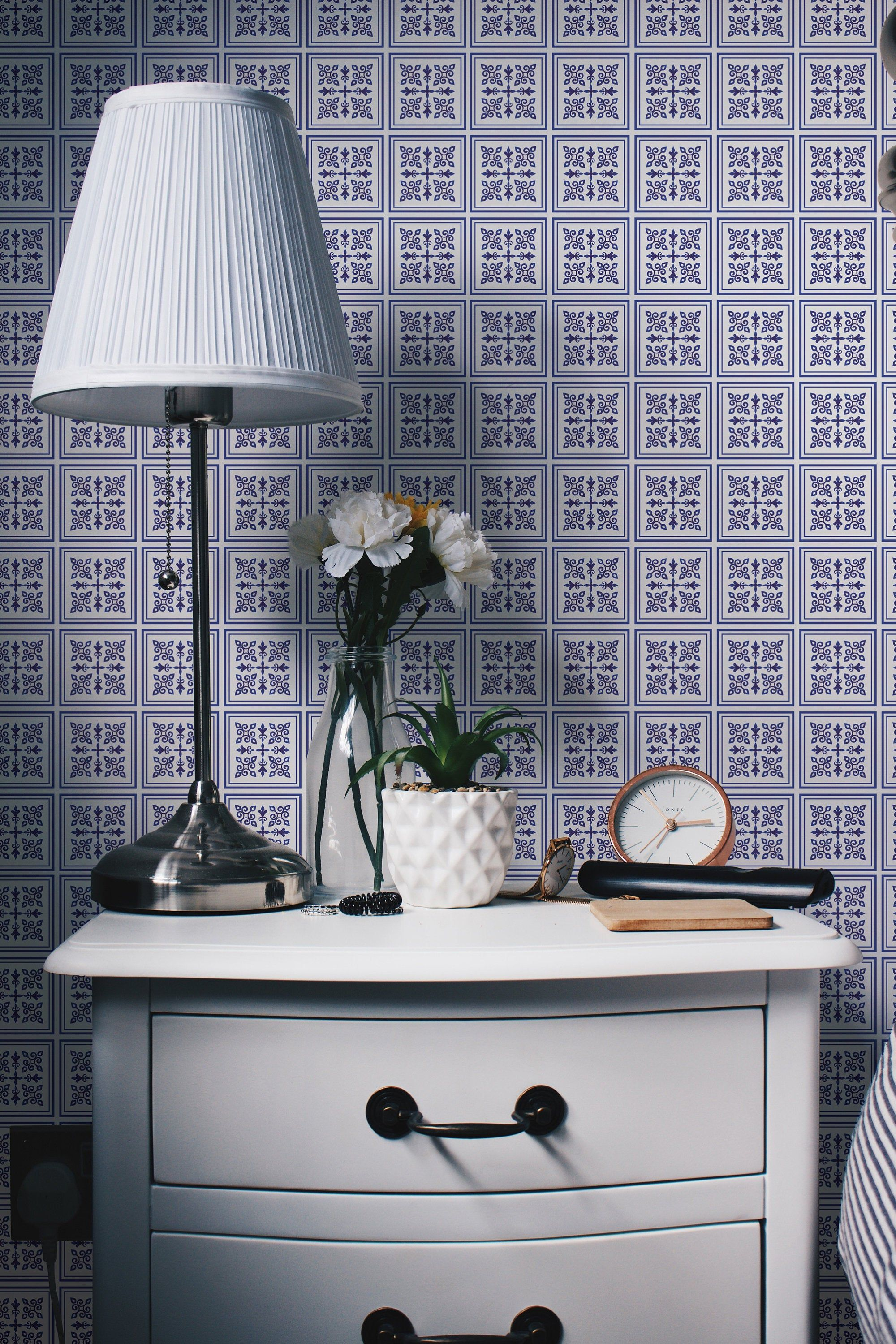 Tile Effect Removable Wallpaper Blue And White Mosaic Tiles Etsy White Mosaic Tiles Removable Wallpaper Mosaic Tiles