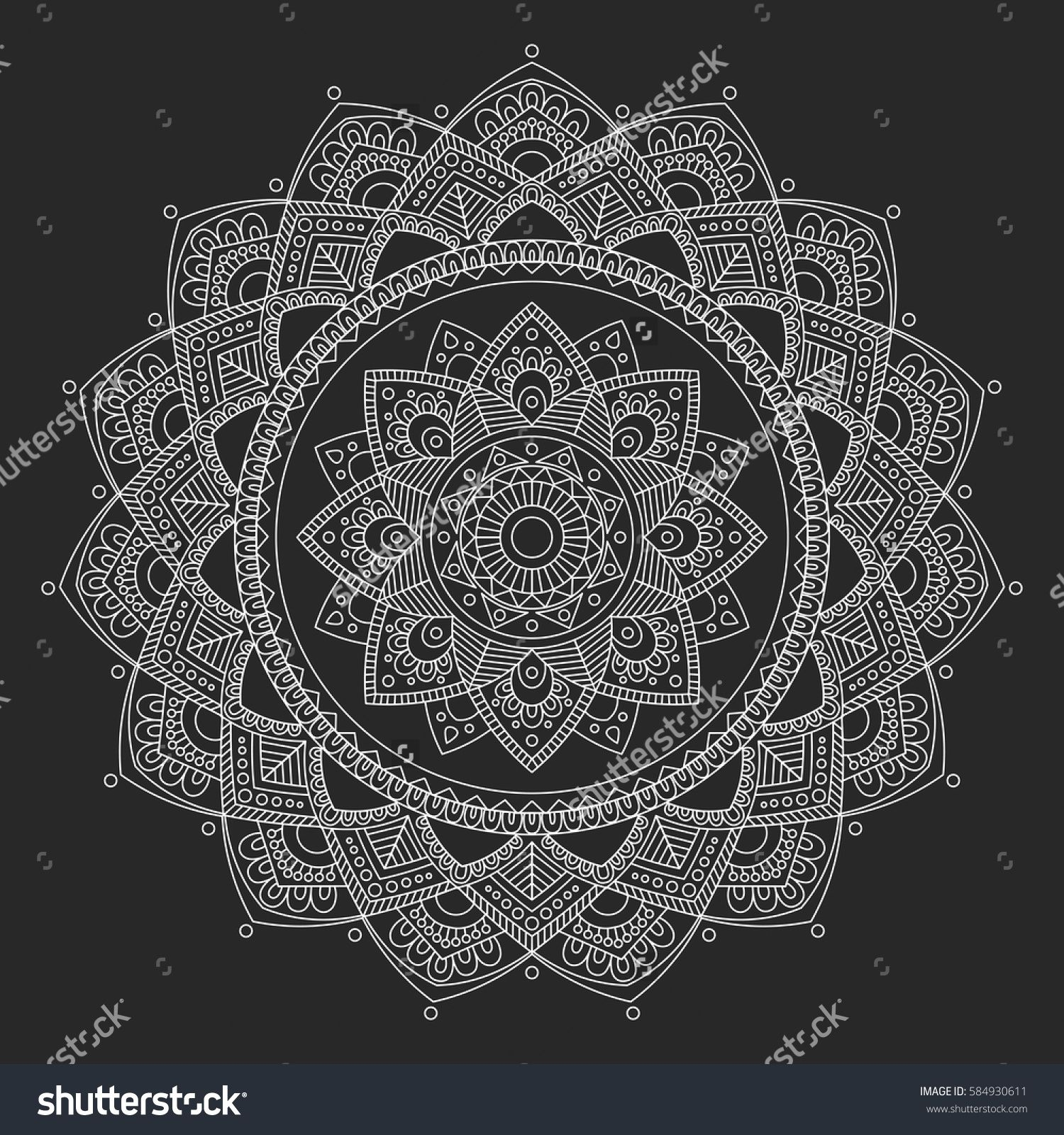 Mandala Coloring Book Pages Indian Antistress Medallion Abstract Islamic Flower Arabic Henna Design Yoga Symbol Vector Illustration