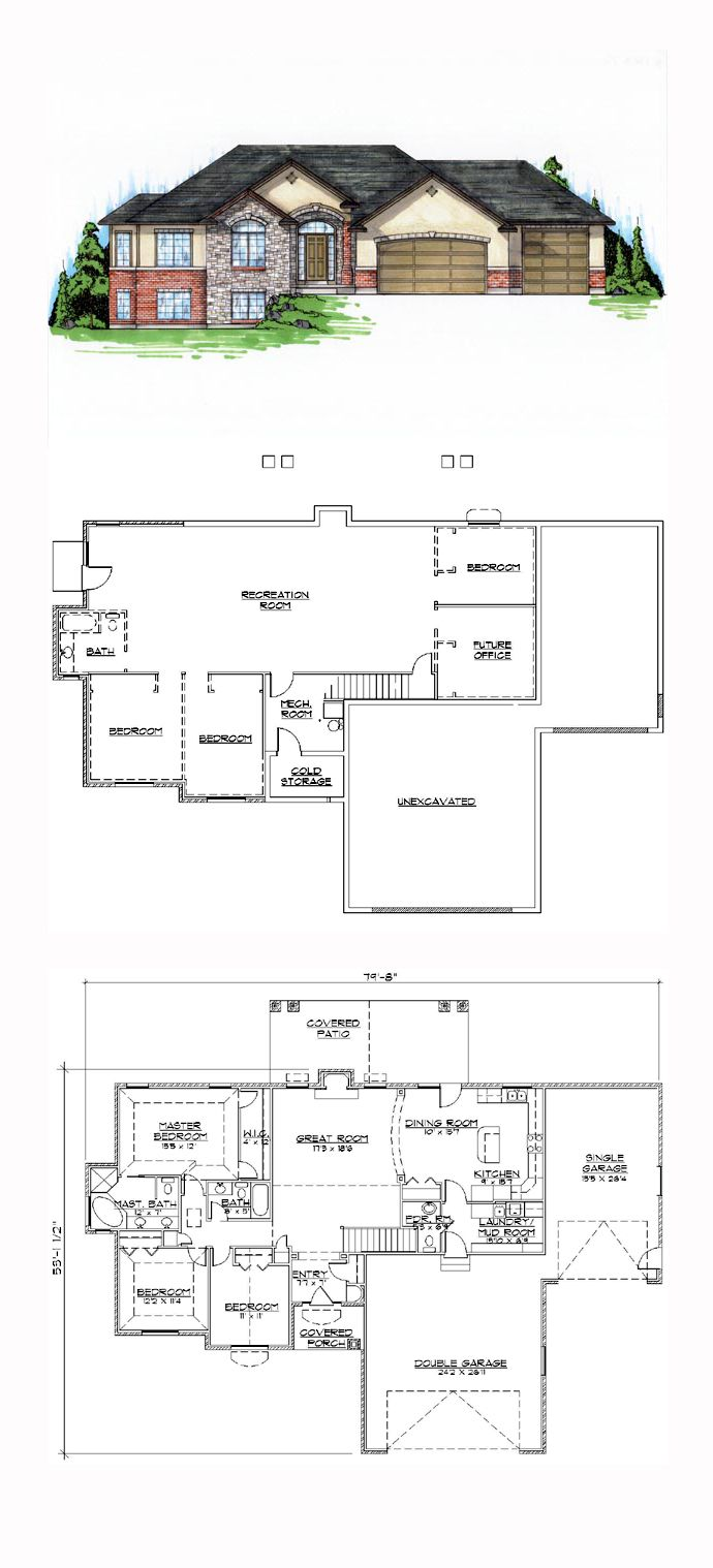 Finished Basement Cool House Plan Id Chp 44955 Total Living Area 1837 Sq Ft 5 Bedrooms And 3 5 Bathroom Basement House Plans House Plans New House Plans