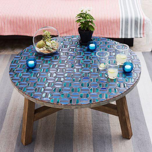 Beautiful Mosaic Tiled Coffee Table   Indigo Hex + Driftwood Base   West Elm