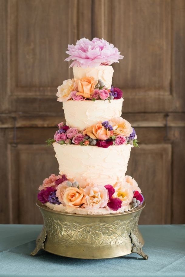 Lush floral decorated cake | SouthBound Bride - Credit: Lorinda Spies