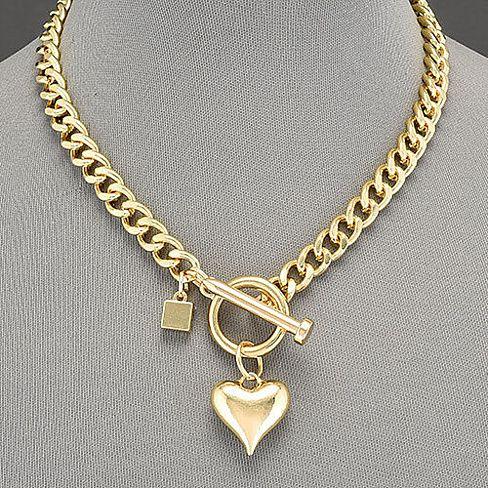 Love Connection Heart Charm Toggle Necklace Joyas De Moda Joyeria Del Cuerpo Joyas