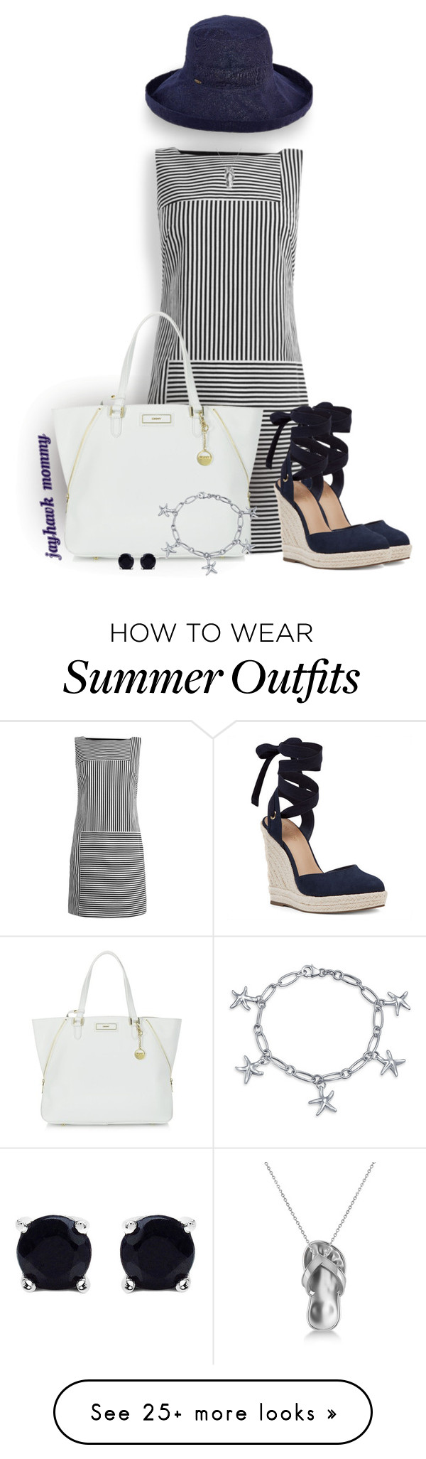"""""""Cape Cod Summer"""" by jayhawkmommy on Polyvore featuring Maryling, Nine West, DKNY, Scala, Allurez, Bling Jewelry and Malaika"""