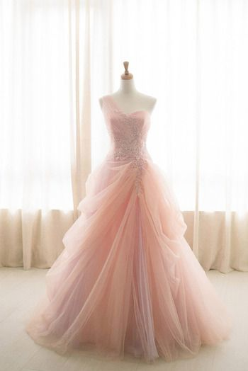 Pink Ball Gown One Shoulder Tulle Appliques Wedding Dress M7279 #tulleballgown
