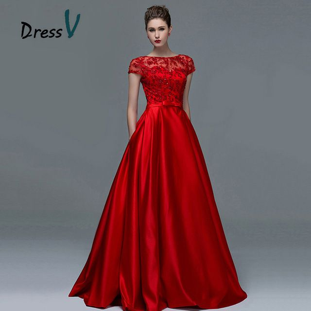 Dressv rojo elegante de encaje de manga corta vestidos de noche 2017 sexy  una línea de barco cuello keyhole largo mujeres formal vestido de noche  vestidos d2eb96e39445