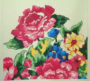 DECORATIONS D-347 Floral Square 13 16x16